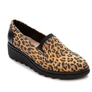 Clarks Dolly Slip On Leopard Loafers